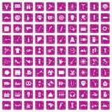 100 street festival icons set grunge pink. 100 street festival icons set in grunge style pink color isolated on white background vector illustration Stock Images