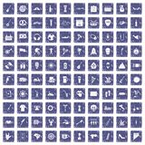 100 street festival icons set grunge sapphire. 100 street festival icons set in grunge style sapphire color isolated on white background vector illustration Royalty Free Stock Photos