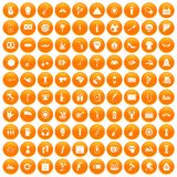 100 street festival icons set orange. 100 street festival icons set in orange circle isolated on white vector illustration Royalty Free Illustration