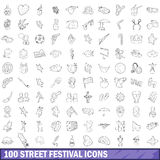 100 street festival icons set, outline style. 100 street festival icons set in outline style for any design vector illustration stock illustration