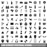 100 street festival icons set, simple style Royalty Free Stock Images