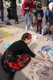 Street festival. KHARKIV, UKRAINE - APRIL 17, 2016: Festival `Day of a single street` on Art Street Stock Photos