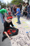 Street festival. KHARKIV, UKRAINE - APRIL 17, 2016: Festival `Day of a single street` on Art Street Royalty Free Stock Photography