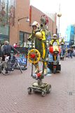 Futuristic space cruise robots at yearly Street Festival in Leeuwarden,Netherlands. Space cruise at the Street Festival in Leeuwarden, capital of Friesland Royalty Free Stock Photos
