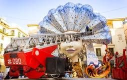 Street Festival Puppet Bonfire Sculpture and Firetruck Stock Photos