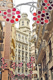 Street with festive decorations Royalty Free Stock Photography