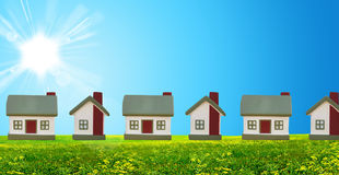 Street in the field. The cottage and sun Stock Photography