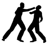 Street Fight Action Figures Silhouette. Silhouette of two men fighting over a white background Stock Photos