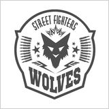 Street fight club with wolf and inscriptions. Street fighting club emblems with wolf, foot tracks and inscriptions. Wolves dangerous territory royalty free stock photo