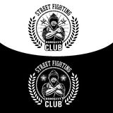 Street fight emblem. Vector illustration street fighting club emblem with fighter, chain and wreath Royalty Free Stock Photos