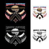 Street fight emblem. Vector illustration street fighting club emblem with knuckle, brass knuckles, razors, stars and inscription. Knuckle sandwich. Street Stock Photos