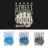 Street fight emblem. Vector illustration street fighting club emblem with knuckle, stars and inscription. Street fighting club. Wacko Royalty Free Stock Image