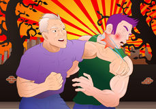 Street fight. Illustration of a man hit a man in a street fight