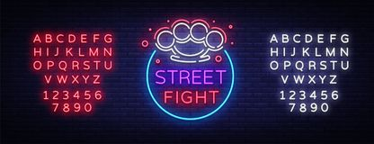 Street fight logo in neon style. Fight Club neon sign. Logo with brass knuckles. Sports neon sign on night fighting, MMA. Light banner, night bright Royalty Free Stock Photography
