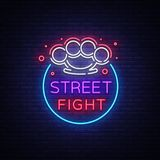 Street fight logo in neon style. Fight Club neon sign. Logo with brass knuckles. Sports neon sign on night fighting. Mixed fighting, MMA. Light banner, night Stock Photo