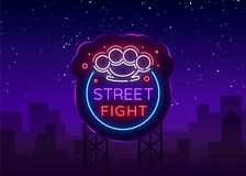 Street fight logo in neon style. Fight Club neon sign. Logo with brass knuckles. Sports neon sign on night fighting. Mixed fighting, MMA. Light banner, night Stock Photography