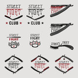 Street fight straight razor. Vector illustration street fight emblem with brass knuckles and straight razor Stock Photos