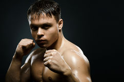 Street-fighter. Horizontal portrait  muscular young  guy street-fighter,  aggression look, hard light Royalty Free Stock Photos