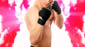 Street fighter on abstract background. (pink clouds stock images
