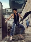 Street fighter in a back alley Stock Image