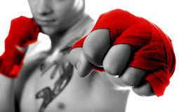 Street fighter isolated on white (focus on fist).  stock image