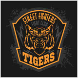 Street fighters - Fighting club emblem on dark. Background, label, badge, logo Royalty Free Stock Photography