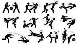 Street fighting attacking stance. Basic hits are punching and kicking. Powerful skills are flying kick, uppercut, throw, and knee knock. Dirty attacks include Royalty Free Stock Photography
