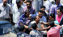 Street fighting , mess and anger in street in cairo in egypt in africa Stock Image