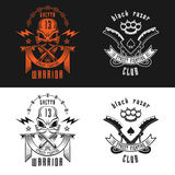 Street fighting club emblem. Vector illustration street fighting club emblems with skull, brass knuckles, razors, stars and inscription. Street fighting club Royalty Free Stock Photo