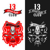 Street fighting club emblem. Vector illustration street fighting club emblem with skull, brass knuckles, razors, stars and inscription. Street fighting club 13 Royalty Free Stock Photos