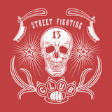 Street fighting club emblem. Vector illustration street fighting club emblem with skull, brass knuckles, razors, stars and inscription. Street fighting club 13 Royalty Free Stock Photo