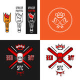 Street fighting club emblems. Vector illustration street fighting club emblems with broken bottle, skull, bits, brass knuckles and inscriptions. Street fighting Stock Images
