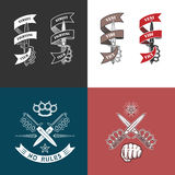 Street fighting club emblems. Vector illustration street fighting club emblems with fist, knife, brass knuckles, stars and inscriptions. Street fighting club Royalty Free Stock Photos