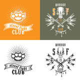Street fighting club emblems. Vector illustration street fighting club emblems with skull, brass knuckles, razors and inscription. Street fighting club. Warrior Royalty Free Stock Images