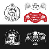 Street fighting club emblems. Vector illustration street fighting club emblems with skull, brass knuckles, stars and inscriptions. Street fighting club. Urban Royalty Free Stock Photo