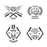 Street fighting club emblems. Vector illustration street fighting club emblems with skull, fist, razor, brass knuckles and inscriptions. Street fighting club. 13 Royalty Free Stock Photography