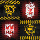 Street Fighting Compositions. With white and yellow combat elements on brick and black backgrounds  vector illustration Royalty Free Stock Image
