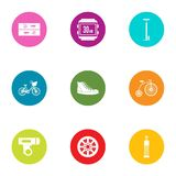 Street fitness icons set, flat style. Street fitness icons set. Flat set of 9 street fitness vector icons for web isolated on white background Royalty Free Stock Images