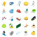Street fitness icons set, isometric style. Street fitness icons set. Isometric set of 25 street fitness vector icons for web isolated on white background Royalty Free Stock Photos