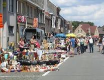 Street Flea Market, Belgium. AALST, BELGIUM, AUGUST 16 2015: Flea Market in the streets of Herdersem near Aalst. A type of bazaar, it has become a popular Stock Photo