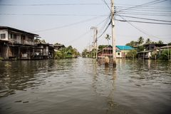 Street flood in Bangkok. Flooded street along a canal in Bangkok Thailand. Houses on stilts Royalty Free Stock Photo