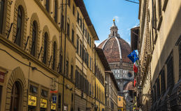 Street of Florence with Santa Maria del Fiore Cathedral, Duomo Stock Photography