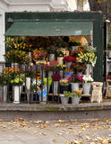 Street Florist. A florist uses the corner of a street to sell their wares. In the inner city of London every square inch is maximized royalty free stock photos
