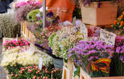 Street flower shop with colourful bouquets on the Grote Markt Royalty Free Stock Photo