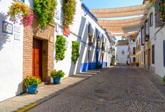 Street with flowers in Cordoba (Calleja de las Flores) Stock Photography