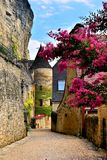 Street with flowers and medieval tower, Dordogne, France. Beautiful village street with flowers and medieval tower, Dordogne, France Stock Photo