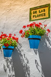 Street with flowers in the Mijas town, Spain Stock Image