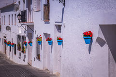 Street with flowers in the Mijas town, Spain Royalty Free Stock Photos