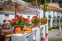Street with flowers in the Mijas town, Spain Royalty Free Stock Images