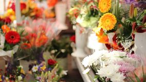 Street Flowers for Sale stock video footage